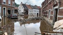 Belgian floods Prime minister De Croo/EC President von der Leyen visit Pepinster. Date: 17 July 2021 Keywords: flooding, floods, Belgium, European Union, Ursula von der Leyen, Alexander De Croo