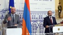 European Council President Charles Michel (L) and Armenia's Prime Minister Nikol Pashinyan (R) attend a press conference in Yerevan on July 17, 2021. (Photo by Karen MINASYAN / AFP) (Photo by KAREN MINASYAN/AFP via Getty Images)
