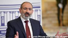 Armenia's Prime Minister Nikol Pashinyan speaks at a joint press conference with European Council President Charles Michel in Yerevan on July 17, 2021. (Photo by Karen MINASYAN / AFP) (Photo by KAREN MINASYAN/AFP via Getty Images)