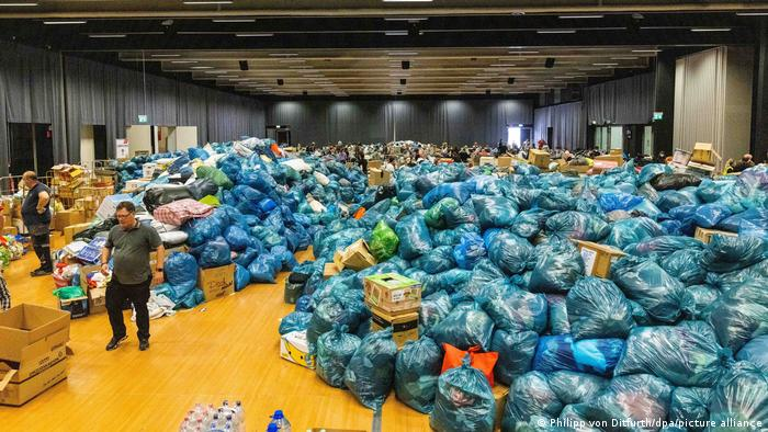 A collection center for relief supplies at Nürburgring