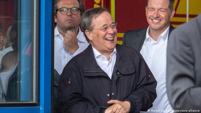 German chancellor candidate Armin Laschet laughing in Erftstadt