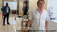 This handout photo obtained from the twitter account of Brazil's President Jair Bolsonaro (@jairbolsonaro), shows Brazil's President Jair Bolsonaro walking at the Vila Nova Star Hospital, in Sao Paulo, Brazil, on July 16, 2021. - Brazil President Jair Bolsonaro was making satisfactory progress according to the hospital where he is receiving treatment for a blocked intestine. Far right leader Bolsonaro was taken to a military hospital in the capital Brasilia on Wednesday after suffering persistent hiccups and abdominal pain for around 10 days. (Photo by - / Jair Bolsonaro's official Twitter account / AFP) / RESTRICTED TO EDITORIAL USE - MANDATORY CREDIT AFP PHOTO / Jair Bolsonaro's official Twitter account (@jairbolsonaro) - NO MARKETING - NO ADVERTISING CAMPAIGNS - DISTRIBUTED AS A SERVICE TO CLIENTS