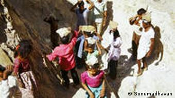 Workers at an asbestos mine in Udaipur, India