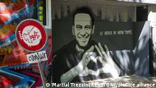 14.06.2021 A graffiti depicting Alexei Anatolievich Navalny Founder of the Anti-Corruption Foundation, he is known for his opposition to the regime of President Vladimir Putin, in Geneva, Switzerland, Monday, June 14, 2021. The meeting between US President Joe Biden and Russian President Vladimir Putin in Geneva, scheduled for Wednesday, June 16, 2021. (KEYSTONE/Martial Trezzini)