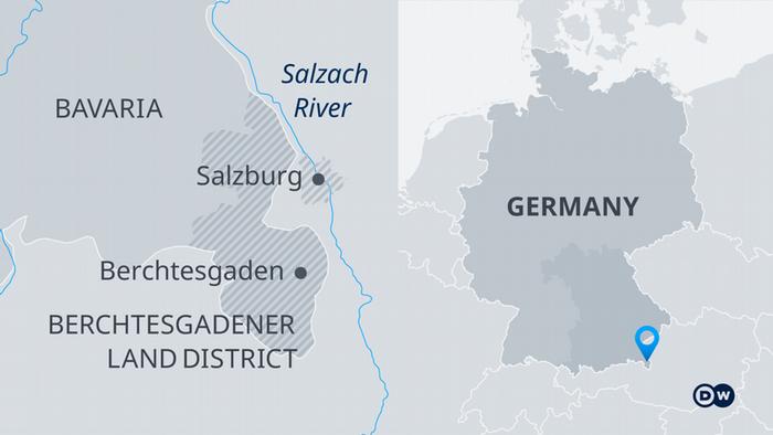 A map of southern Germany Berchtesgaden Salzburg Bavaria