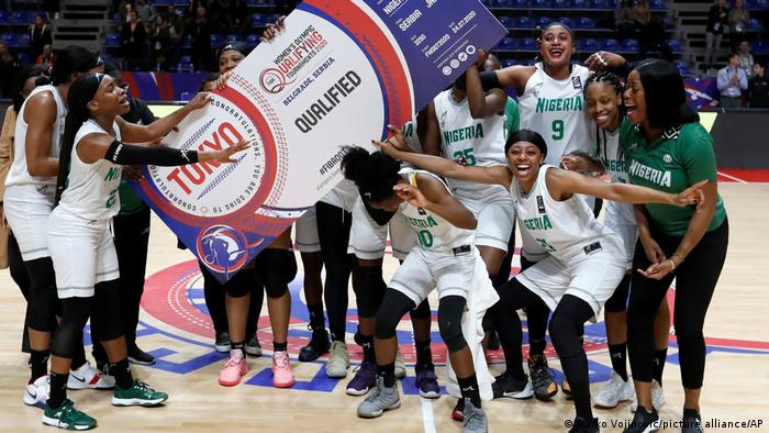 Nigeria's women's basketball team celebrating qualification for the Tokyo Olympics