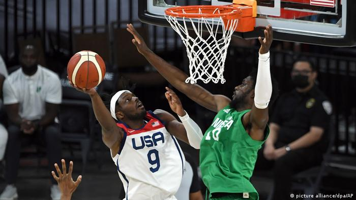 Nigeria in action against USA in an Olympics warmup game