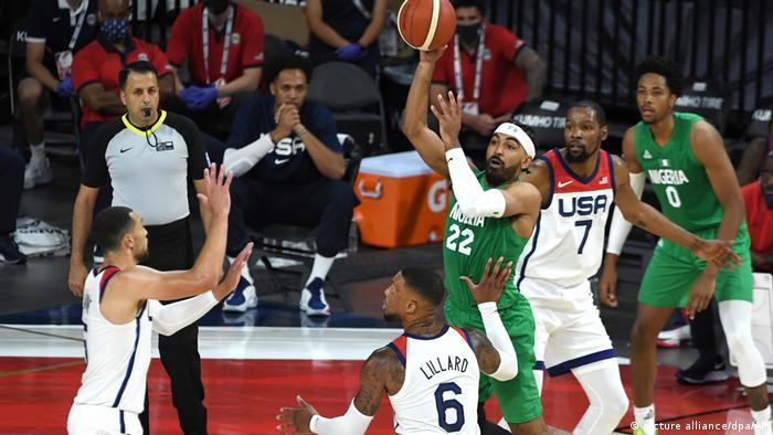 Nigeria vs. USA in a pre-Olympics warmup game
