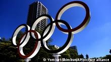 19.07.2021 | A five-ring Olympic emblem is put at Odori Park in Sapporo City, Hokkaido Prefecture on July 19, 2021. Odori Park is a competition venue for marathon and racewalking. ( The Yomiuri Shimbun via AP Images )
