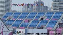 19.07.2021 | Ein Blick auf die leere Tribüne im Ariake Urban Sports Park. Die Sportstätte für den Fun-Sport. BMX und die ersten Skateboard-Wettbewerbe finden hier statt. Die Olympischen Spiele 2020 Tokio finden vom 23.07.2021 bis zum 08.08.2021 statt.