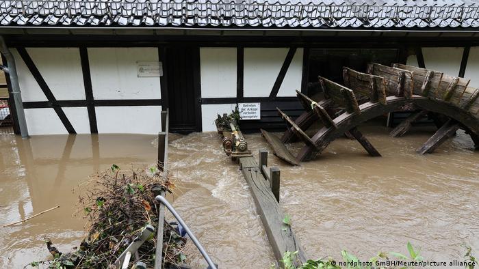 Old water mill flooded in North Rhine-Westphalia