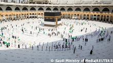 Pilgrims keeping social distance perform their Umrah in the Grand Mosque during the annual Haj pilgrimage, in the holy city of Mecca, Saudi Arabia, July 17, 2021. Saudi Ministry of Media/Handout via REUTERS ATTENTION EDITORS - THIS PICTURE WAS PROVIDED BY A THIRD PARTY
