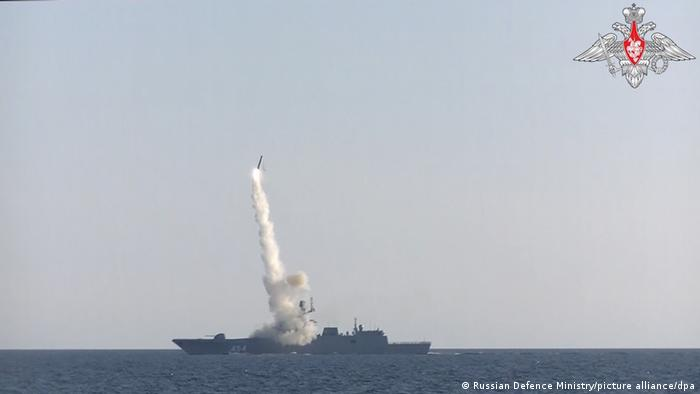 Russian Defence Ministry footage showing a Zircon hypersonic cruise missile being fired from the Admiral Gorshkov