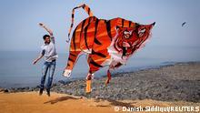 FILE PHOTO: A participant flies a tiger shaped kite during the International Kite Festival in Mumbai January 8, 2014. REUTERS/Danish Siddiqui/File Photo