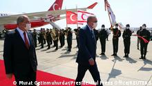 19/07/2021*** Turkish President Tayyip Erdogan reviews a guard of honour with Turkish Cypriot leader Ersin Tatar as he arrives to the Turkish Republic of Northern Cyprus, a breakway state recognized only by Turkey, in northern Nicosia, Cyprus July 19, 2021. Murat Cetinmuhurdar/Presidential Press Office/Handout via REUTERS THIS IMAGE HAS BEEN SUPPLIED BY A THIRD PARTY. NO RESALES. NO ARCHIVES.