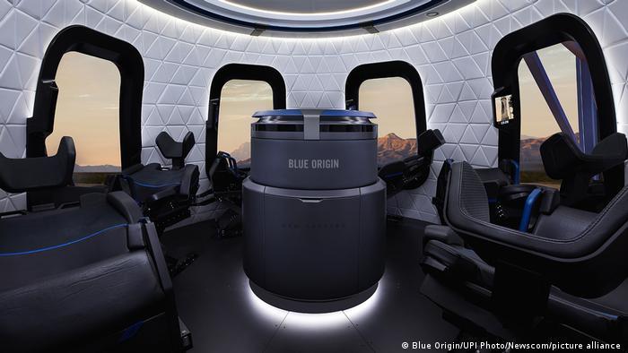 El interior del New Sheperd de Blue origin donde Bezos viajará junto a su hermano Mark Bezos, la aviadora de 82 años Wally Funk y el holandés de 18 años Oliver Daemen.