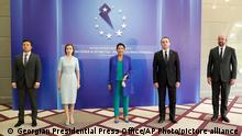 Batumi, 19/07/2021*** In this photo released by Georgian Presidential Press Office, from the left: Volodymyr Zelenskyy, Moldova's President Maia Sandu, Georgian President Salome Zurabishvili, Georgian Prime Minister Irakli Garibashvili and EU Council President Charles Michel pose for a photo on the sidelines of a Batumi International Conference - Enduring Power of Attraction in Batumi, Georgia, Monday, July 19, 2021. (Georgian Presidential Press Office via AP)
