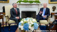 President Joe Biden meets with Jordan's King Abdullah II in the Oval Office of the White House in Washington, Monday, July 19, 2021. (AP Photo/Susan Walsh)