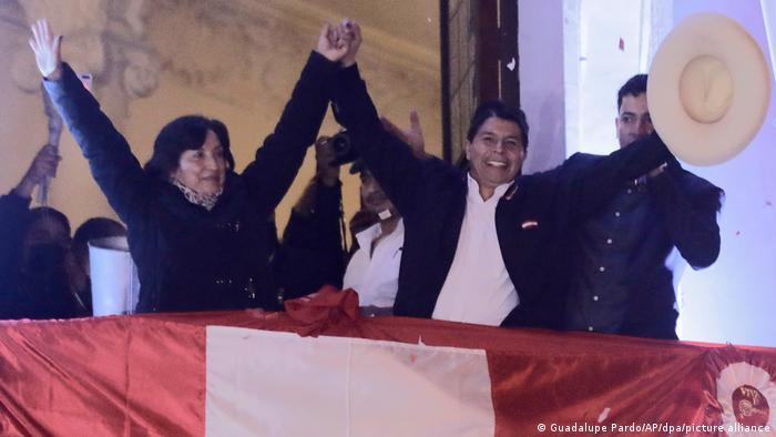 Pedro Castillo celebrates official election results