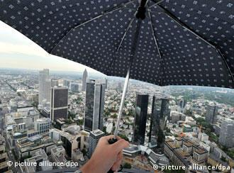 An umbrella held up over the banking quarter in Frankfurt