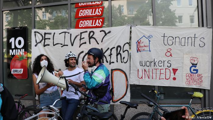 Gorillas workers protest against poor working conditions