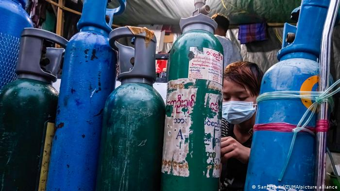 Oxygen cylinders seen outside the oxygen-filling center, amid a surge in COVID-19 cases in Myanmar