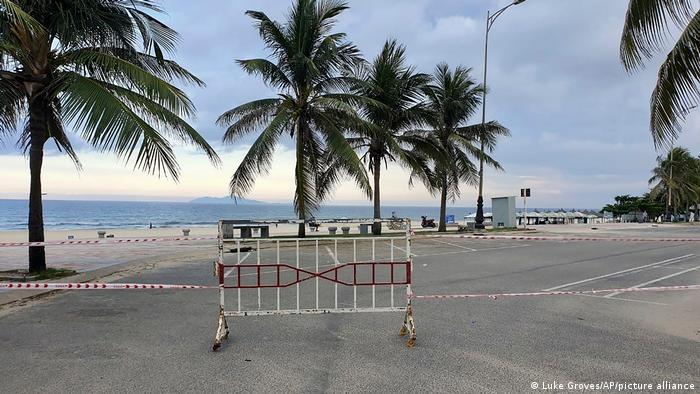 Entrance to a beach is cordoned off following a lockdown order in Da Nang, Vietnam