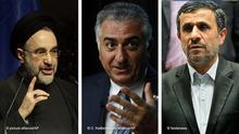 Mohammad Khatami (li), Reza Pahlavi (mi) und Mahmood Ahmadinejad (re)