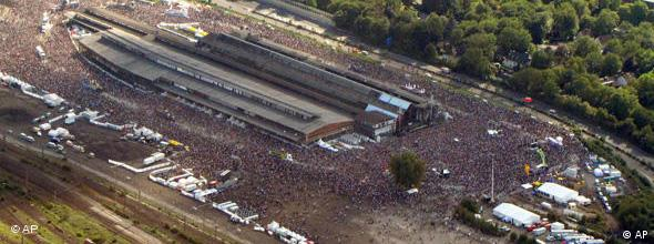 An aerial shot of the Love Parade grounds and massive crowd