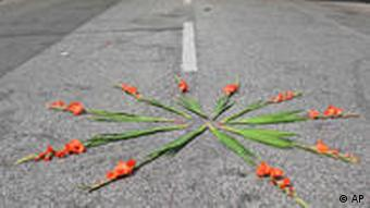 A floral tribute near the accident scene