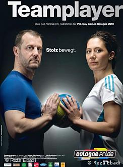 an advertisement for the Gay Games with a man and a woman holding a ball and the word 'teamplayer'