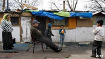 A Roma family in a makeshift camp in Saint Denis, a northern suburb of Paris.
