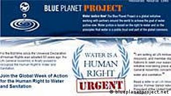 Screenshot of the Blue Planet Project website