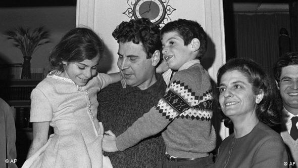 Mikis Theodorakis in his Athens home on January 27,1968, after his release from prison by the Greek military regime under a Christmas Amnesty