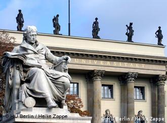 A statute of Wilhelm von Humboldt at the entrance to Berlin's Humboldt University