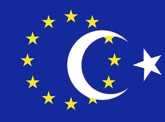 A European Union flag, with part of Turkey's superimposed