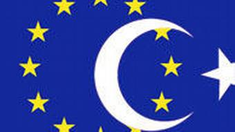 An EU flag with a Turkish crescent and star