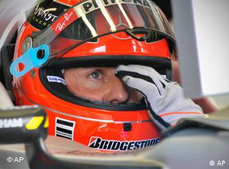 Michael Schumacher with helmet on
