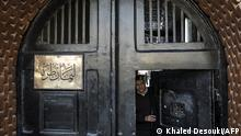 11/02/2020** A picture taken during a guided tour organised by Egypt's State Information Service on February 11, 2020, shows an Egyptian police officer at the entrance of the Tora prison on the southern outskirts of the Egyptian capital Cairo. (Photo by Khaled DESOUKI / AFP)