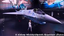 6600134 20.07.2021 A prototype of Russia's new Sukhoi Checkmate Fighter is displayed at the MAKS 2021 International Aviation and Space Salon, in Zhukovsky, outside Moscow, Russia. Alexey Maishev / Sputnik