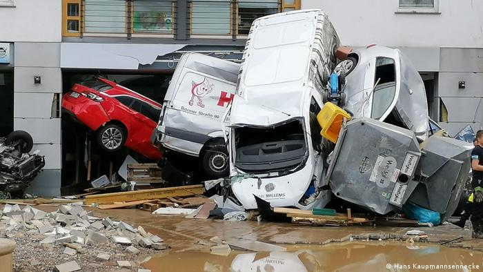 Vehicular rubble caused by flooding in Bad Neuenahr-Ahrweiler