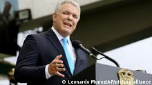 20.7.2021****Colombia's President Ivan Duque speaks during a military parade celebrating the country's 211 years of independence from Spain, at the General Jose Maria Cordoba Military School for Cadets in Bogota, Colombia, Tuesday, July 20, 2021. (AP Photo/Leonardo Munoz)