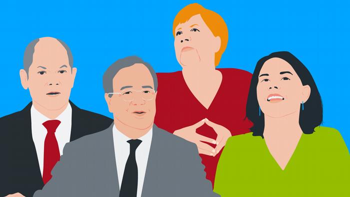 يتنافس على خلافة ميركل زعماء ثلاثة أحزاب رئيسة هم (من اليسار) أرمين لاشيت (التحالف المسيحي) وأولاف شولتس (الحزب الاشتراكي)، وأنالينا بيربوك(حزب الخضر).