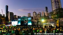 21.07.21 *** BRISBANE, AUSTRALIA - JULY 21: A general view is seen of the stage area during the announcement of the host city for the 2032 Olympic Games, watched via live feed in Tokyo, at the Brisbane Olympic Live Site on July 21, 2021 in Brisbane, Australia. (Photo by Albert Perez/Getty Images)