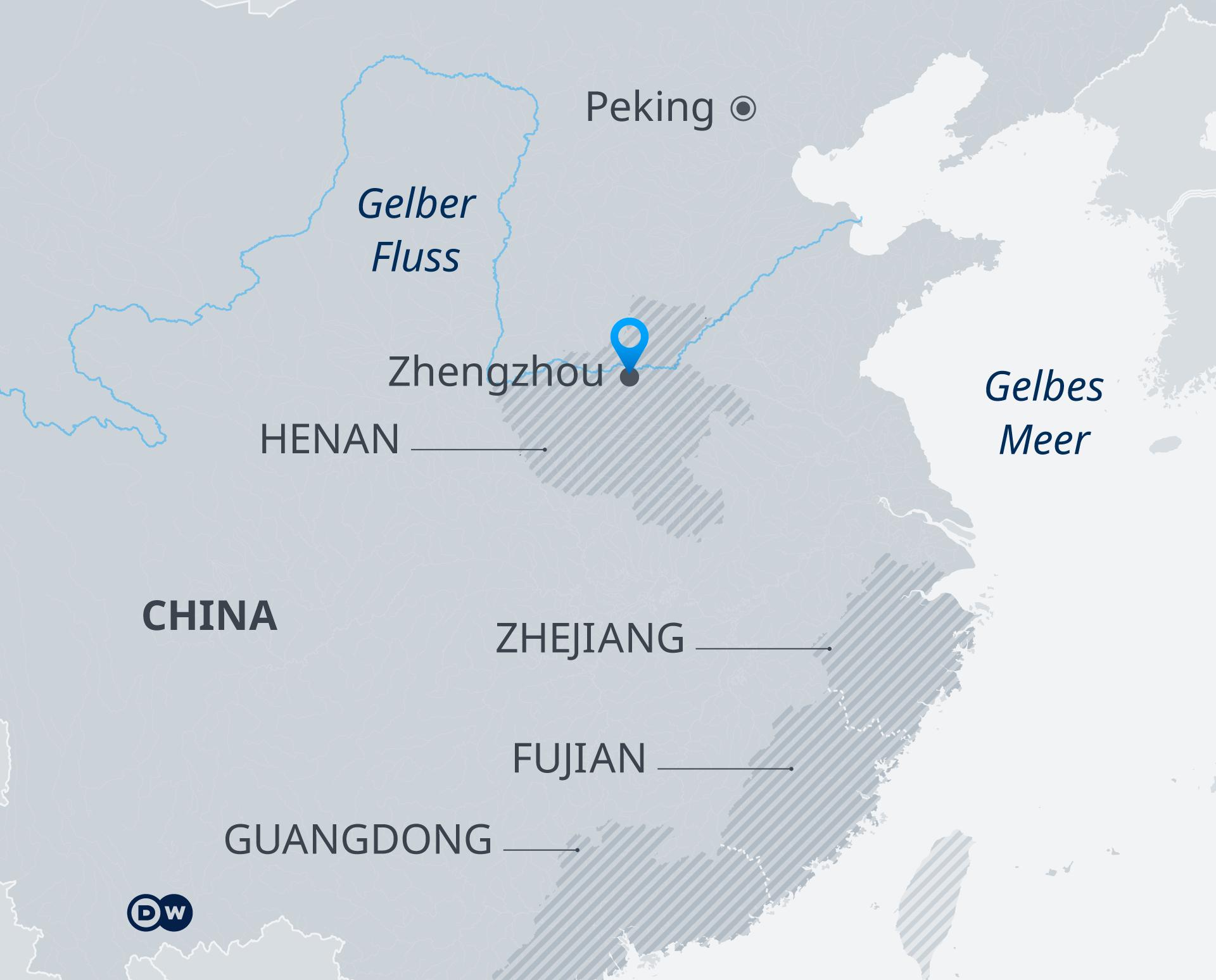 Infografik Karte China Zhengzhou Flut DE