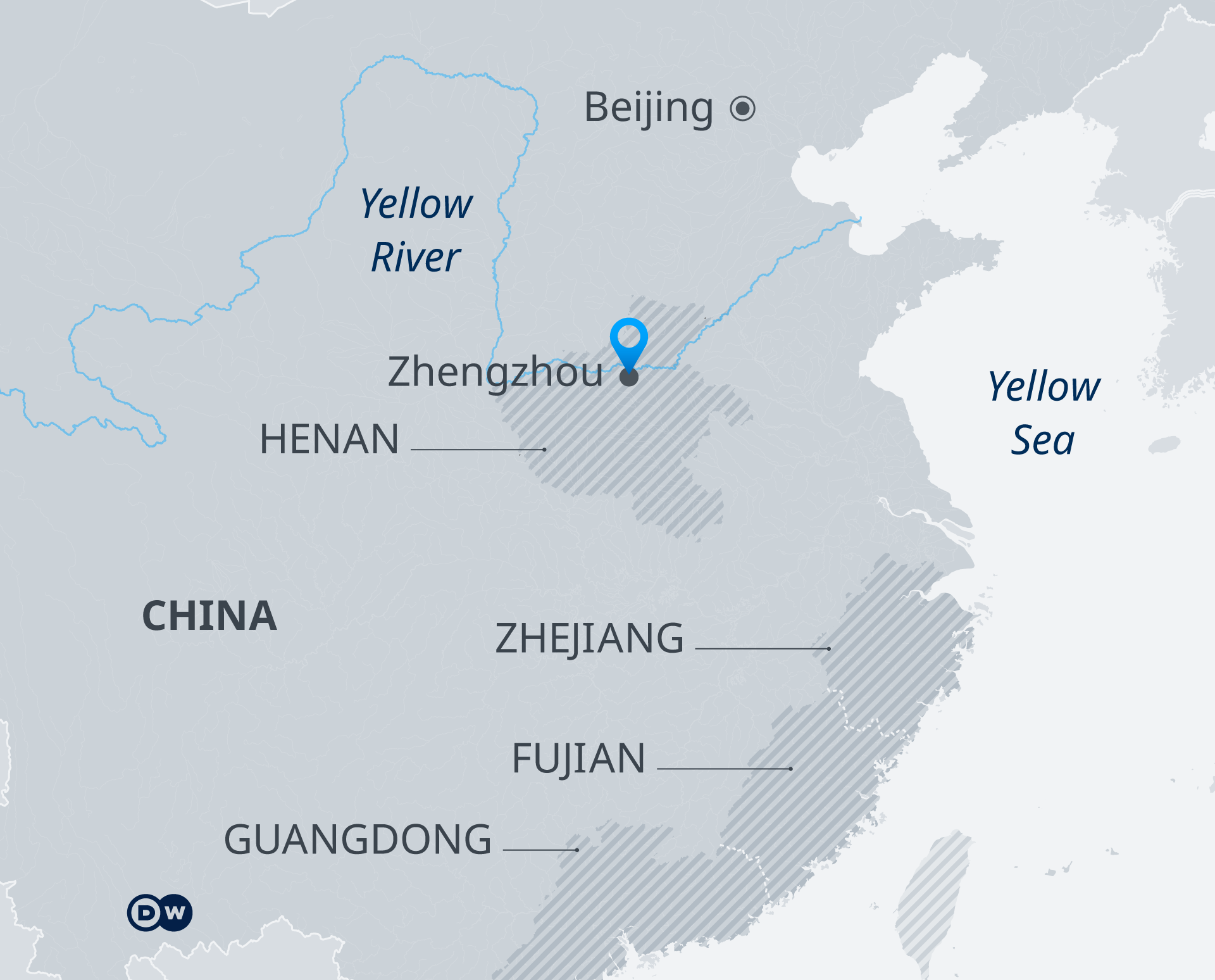 Map showing the provinces of China where severe weather hit, particularly in the city of Zhengzhou