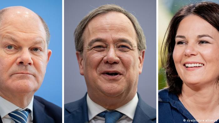Кандидаты на пост канцлера ФРГ: министр финансов Германии Олаф Шольц (слева, СДПГ), премьер-министр федеральной земли Северный Рейн - Вестфалия Армин Лашет (ХДС/ХСС) и сопредседательница партии зеленые Анналена Бербок