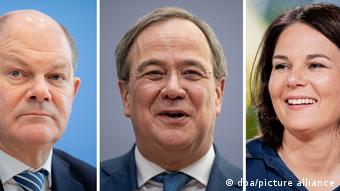 Deutschland | Kanzlerkandidaten von Bündnis 90/Die Grünen, CDU/CSU und SPD