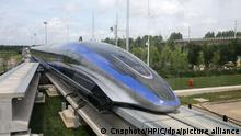 **CHINESE MAINLAND, HONG KONG, MACAU AND TAIWAN OUT**View of 600 km/h high-speed magnetic levitation transportation system, which is developed by China CNR and has completely independent intellectual property rights, is launched in Qingdao city, east China's Shandong province, 20 July 2021.