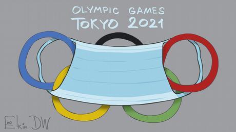 DW-Karikatur von Sergey Elkin - Olympia in Tokio, Coronapandemie